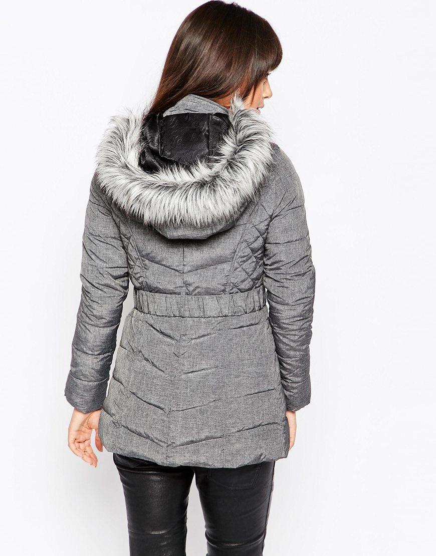 Lipsy Faux Fur Hooded Padded Jacket in Gray | Lyst