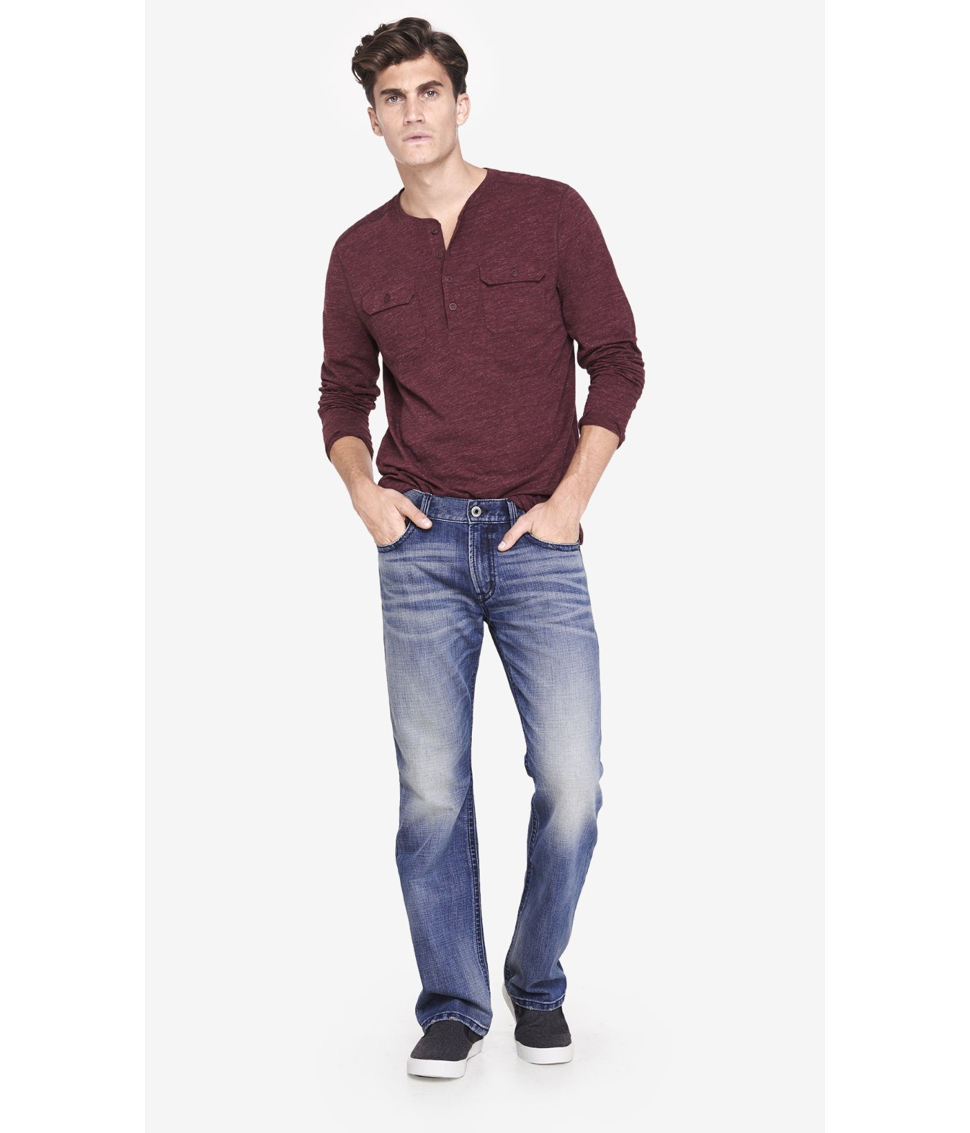 Express Boot Leg Slim Fit Thick Stitch Jean In Blue For