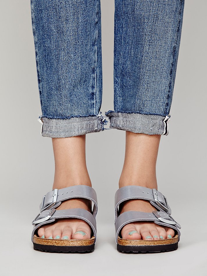 birkenstock arizona silver metallic