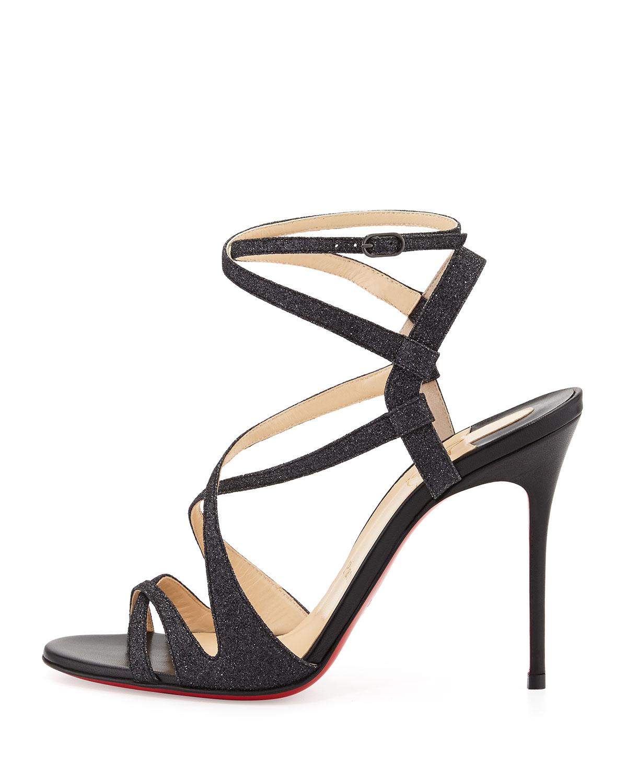 f08da2ea172 Christian Louboutin Black Audrey Strappy Glitter Red Sole Sandal
