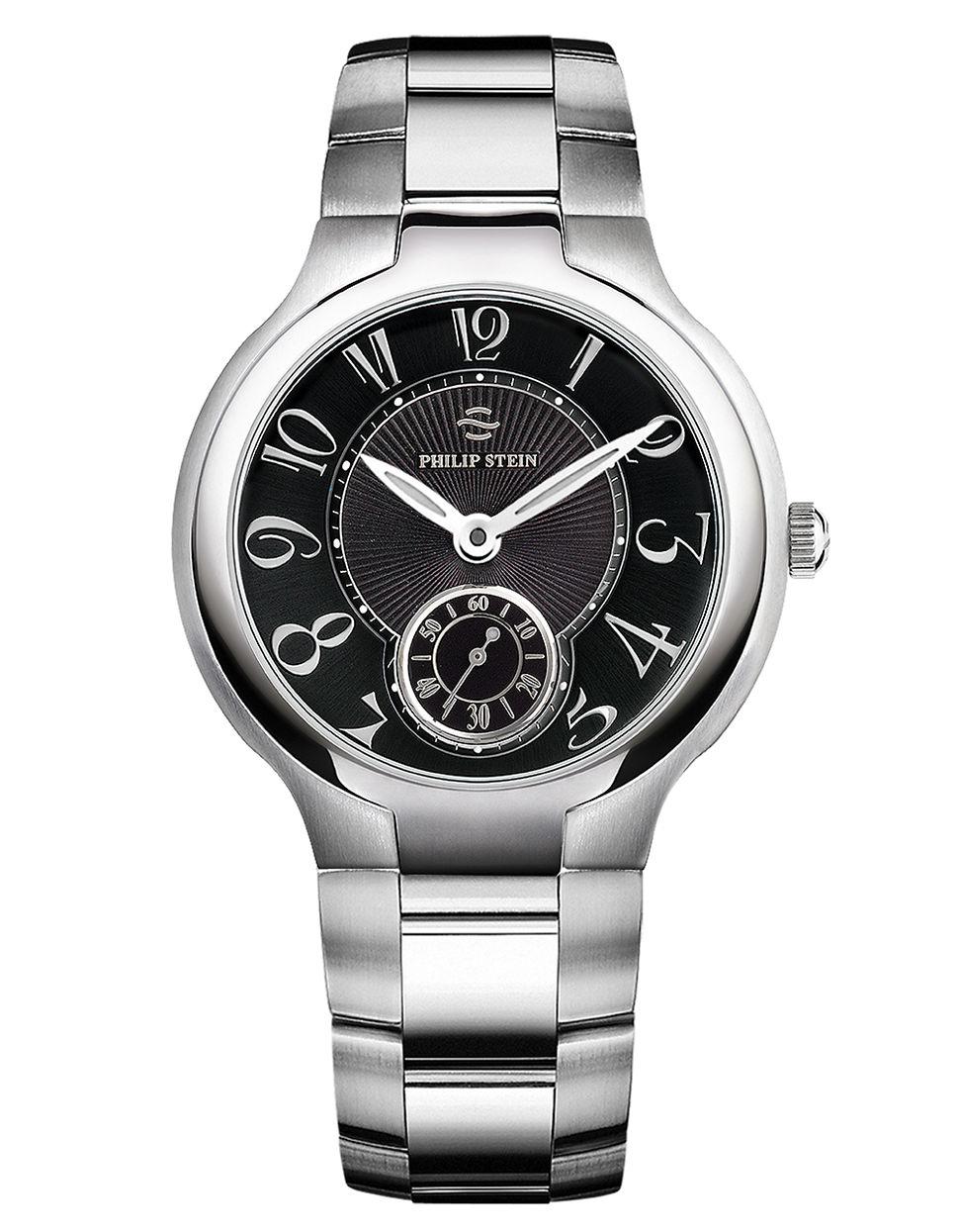 Philip stein unisex silvertone large chronograph watch in metallic lyst for Philip stein watches