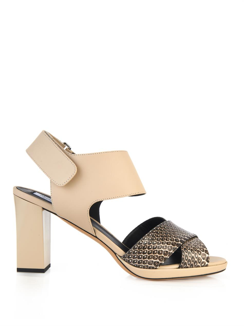 Max Mara Mito Leather And Snakeskin Sandals In Natural Lyst