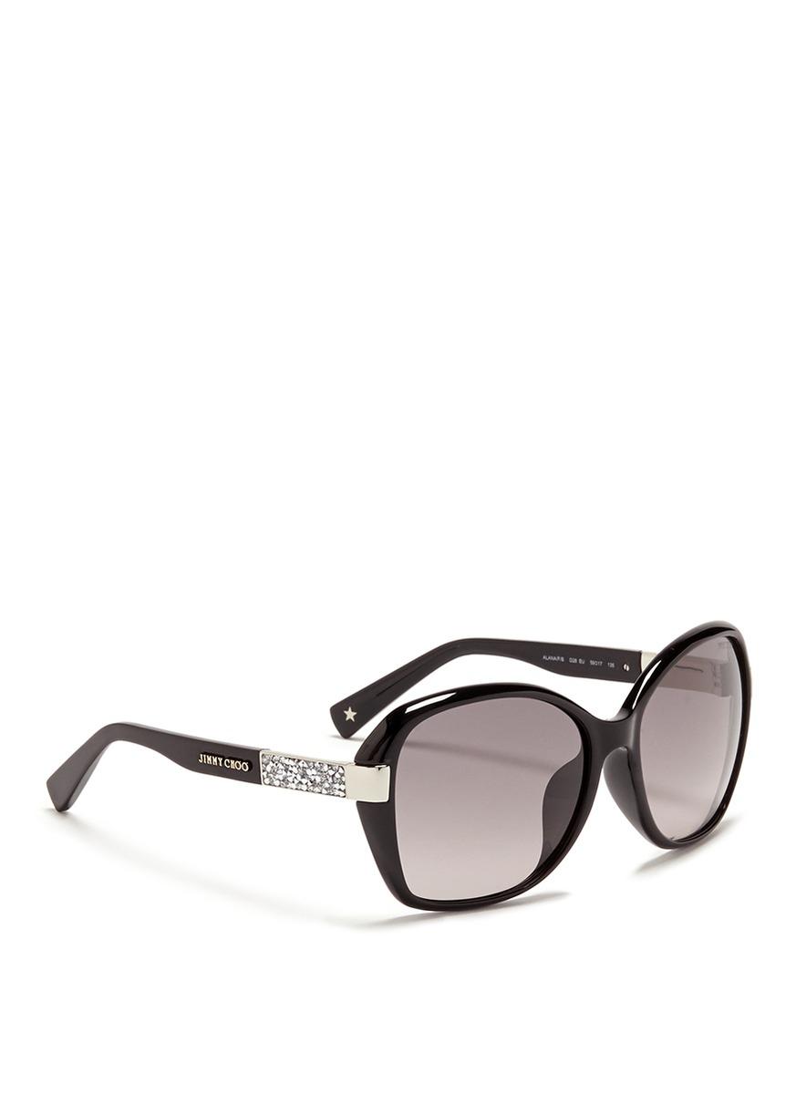 04bc0a9788d6 Lyst - Jimmy Choo  alana  Crystal Temple Acetate Sunglasses in Black