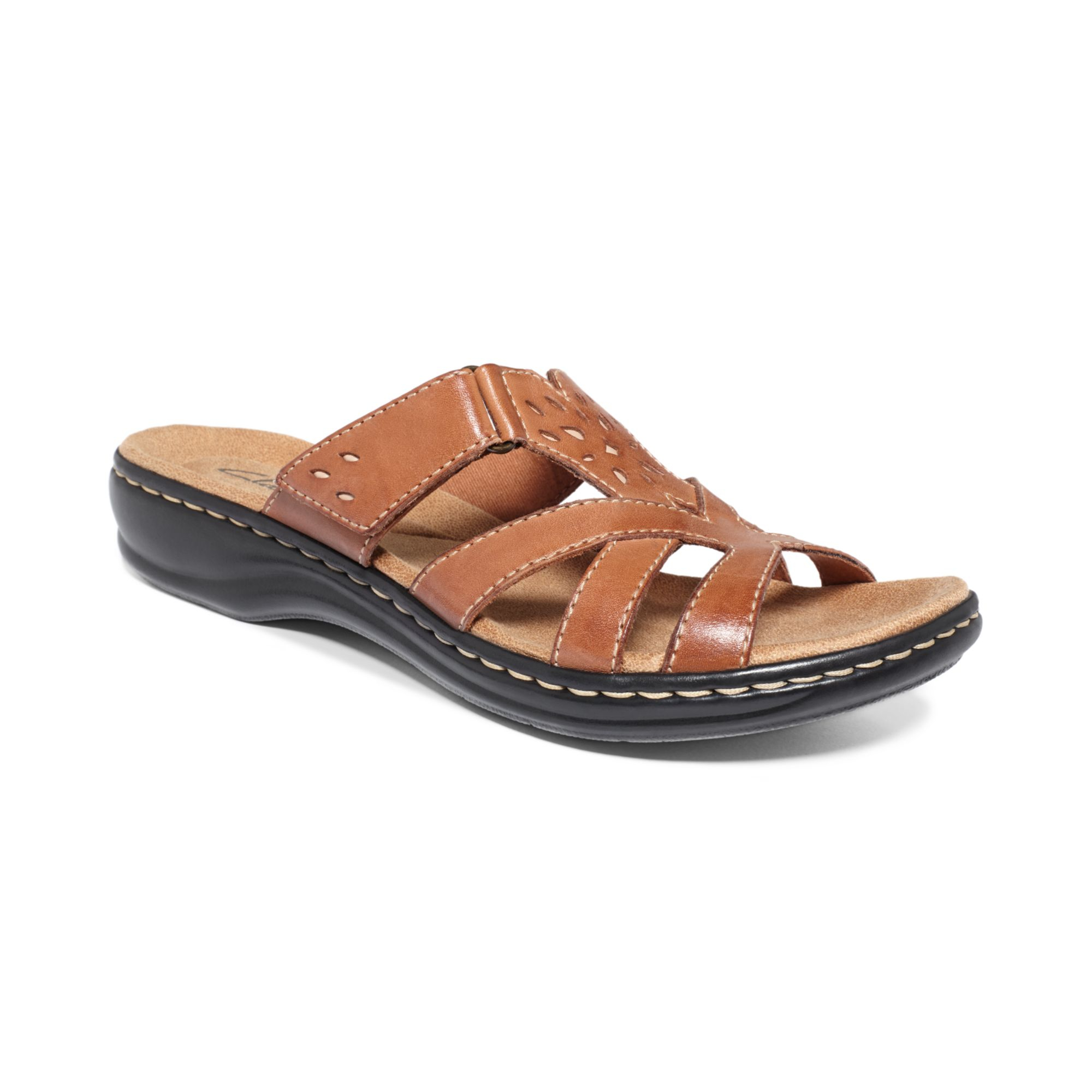 clarks womens shoes leisa plum sandals in brown lyst
