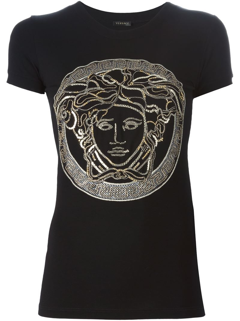 Versace medusa t shirt in black lyst for Versace t shirts women