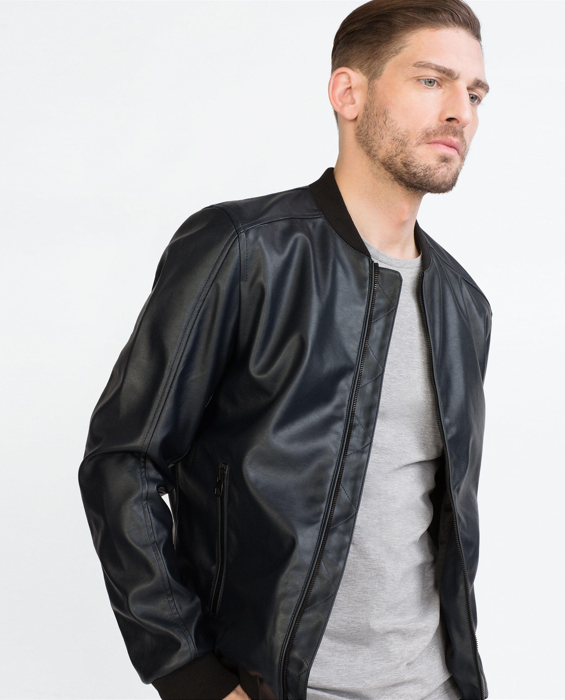 Zara Faux Leather Bomber Jacket in Blue for Men | Lyst