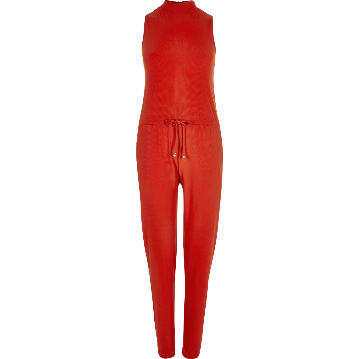 River island Red Jersey Sleeveless Jumpsuit in Orange | Lyst