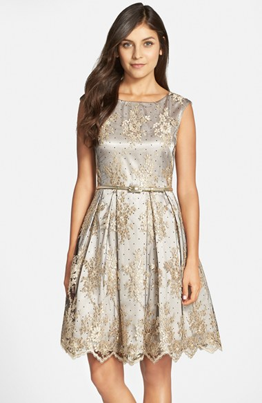 Eliza J Belted Embroidered Mesh Fit Amp Flare Dress In Black