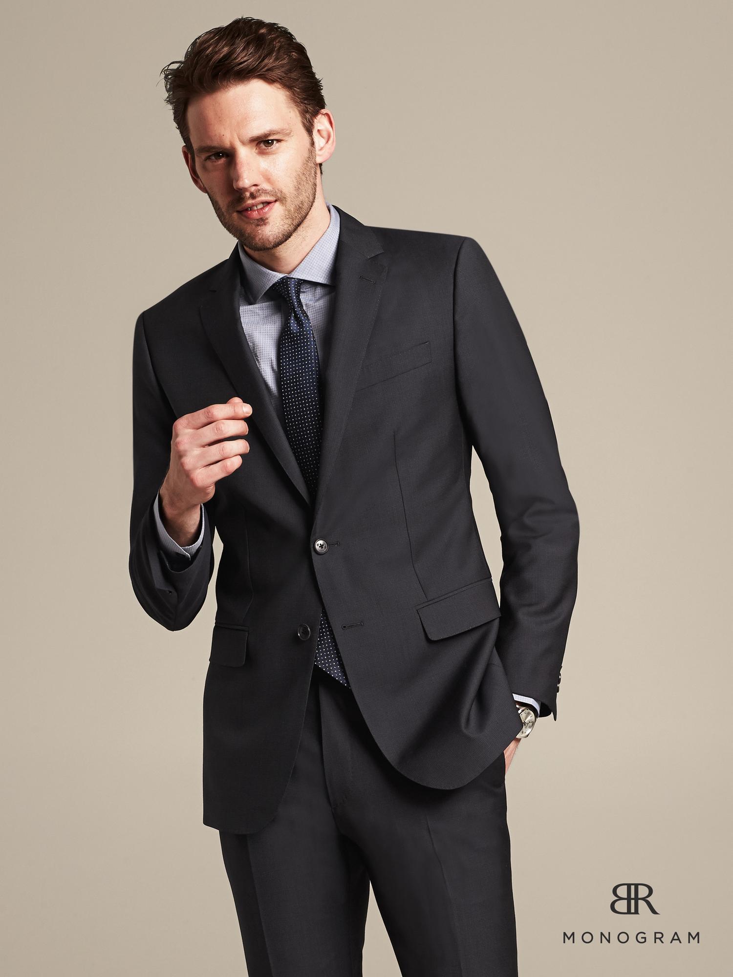 banana republic br monogram jacquard suit jacket in blue for men  navy