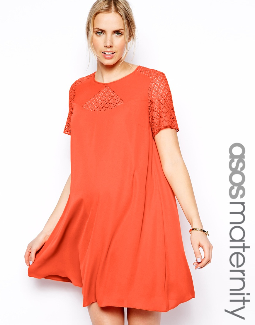 Asos exclusive swing dress with lace insert in orange lyst gallery womens swing dresses ombrellifo Gallery