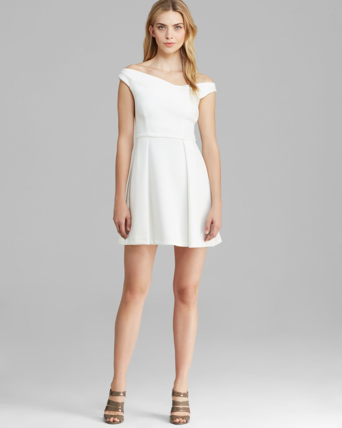 Black halo Dress - Sierra Mini Neoprene in White | Lyst