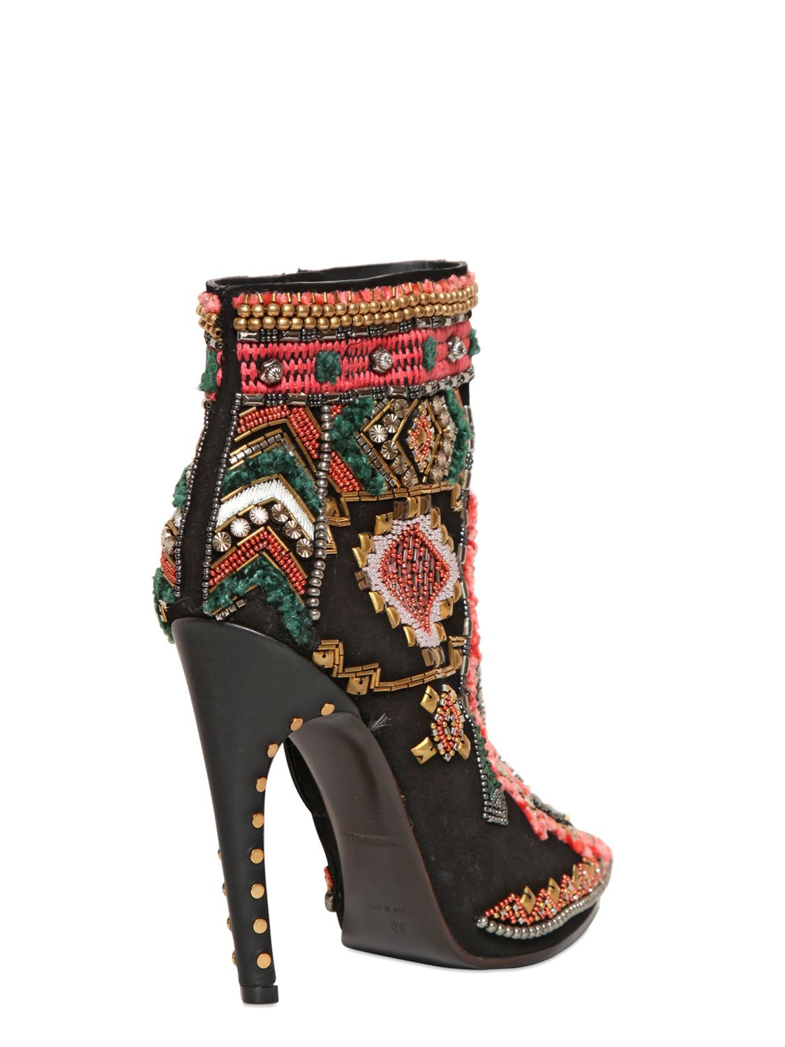 Lyst Emilio Pucci 115mm Suede Embroidered Ankle Boots