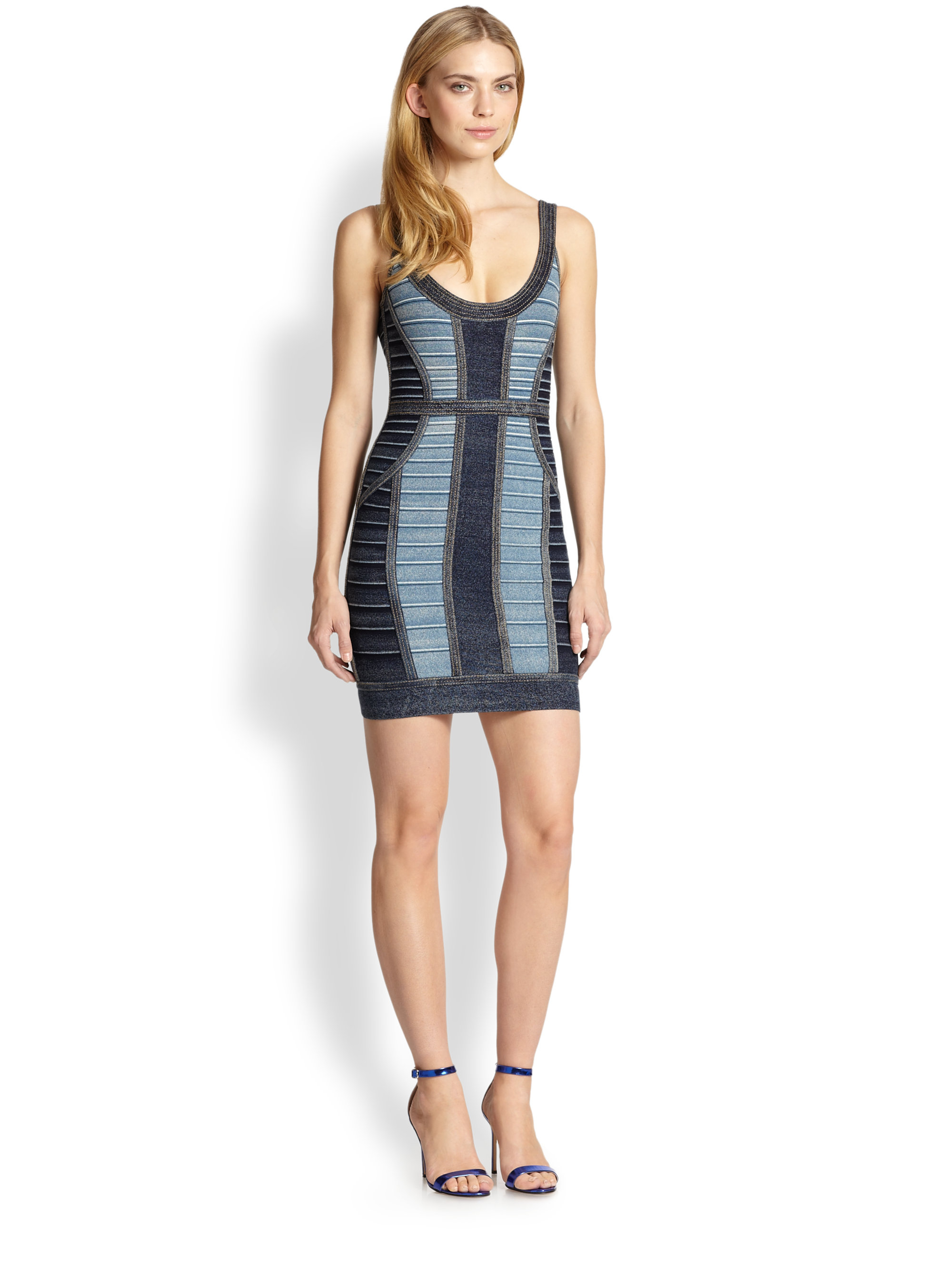4d237702cde Gallery. Previously sold at  Saks Fifth Avenue · Women s Herve Leger Bandage  Women s Denim Dresses ...