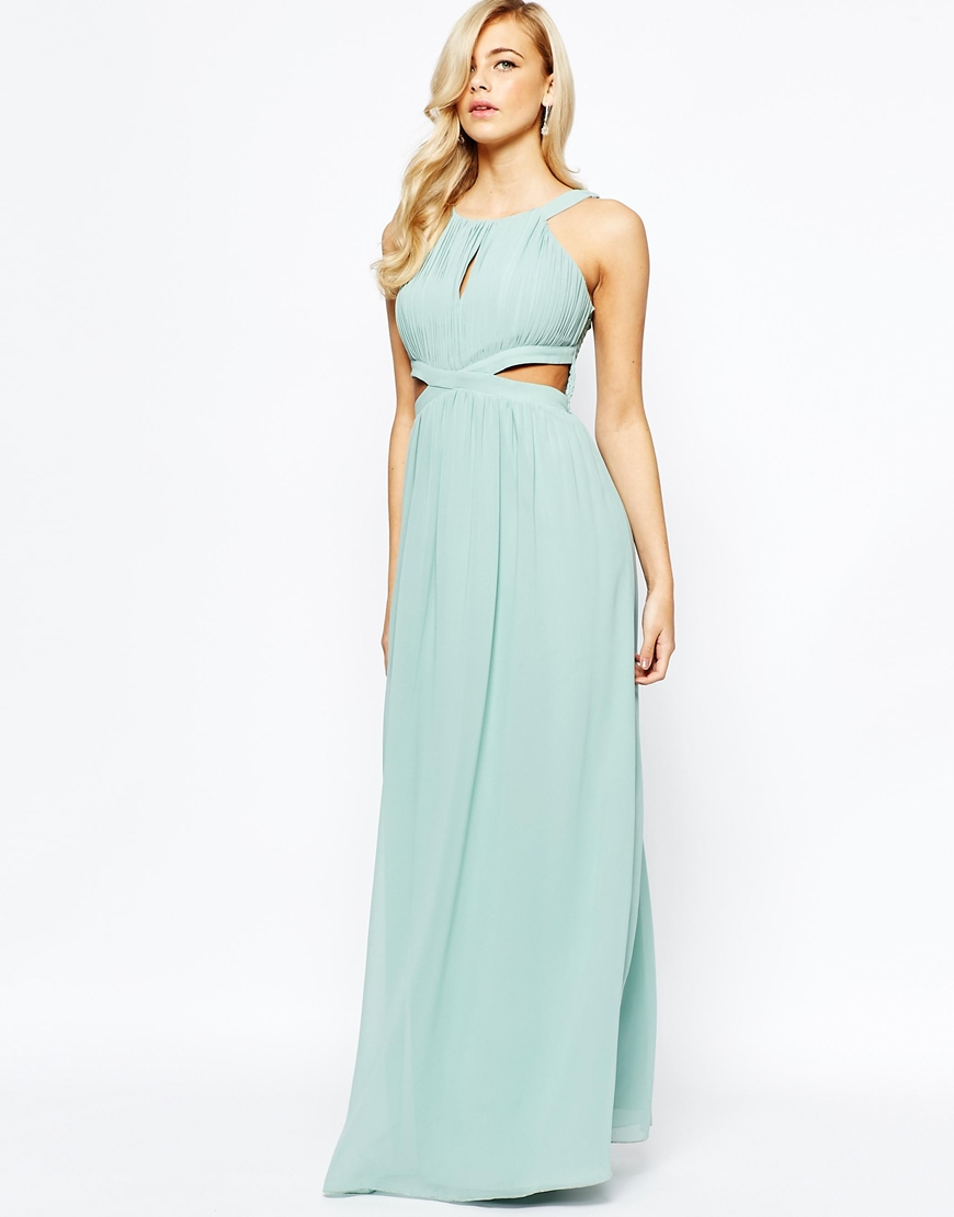 e3bfcc2892 Little Mistress Chiffon Maxi Dress With Cut Outs - Sage Green in ...