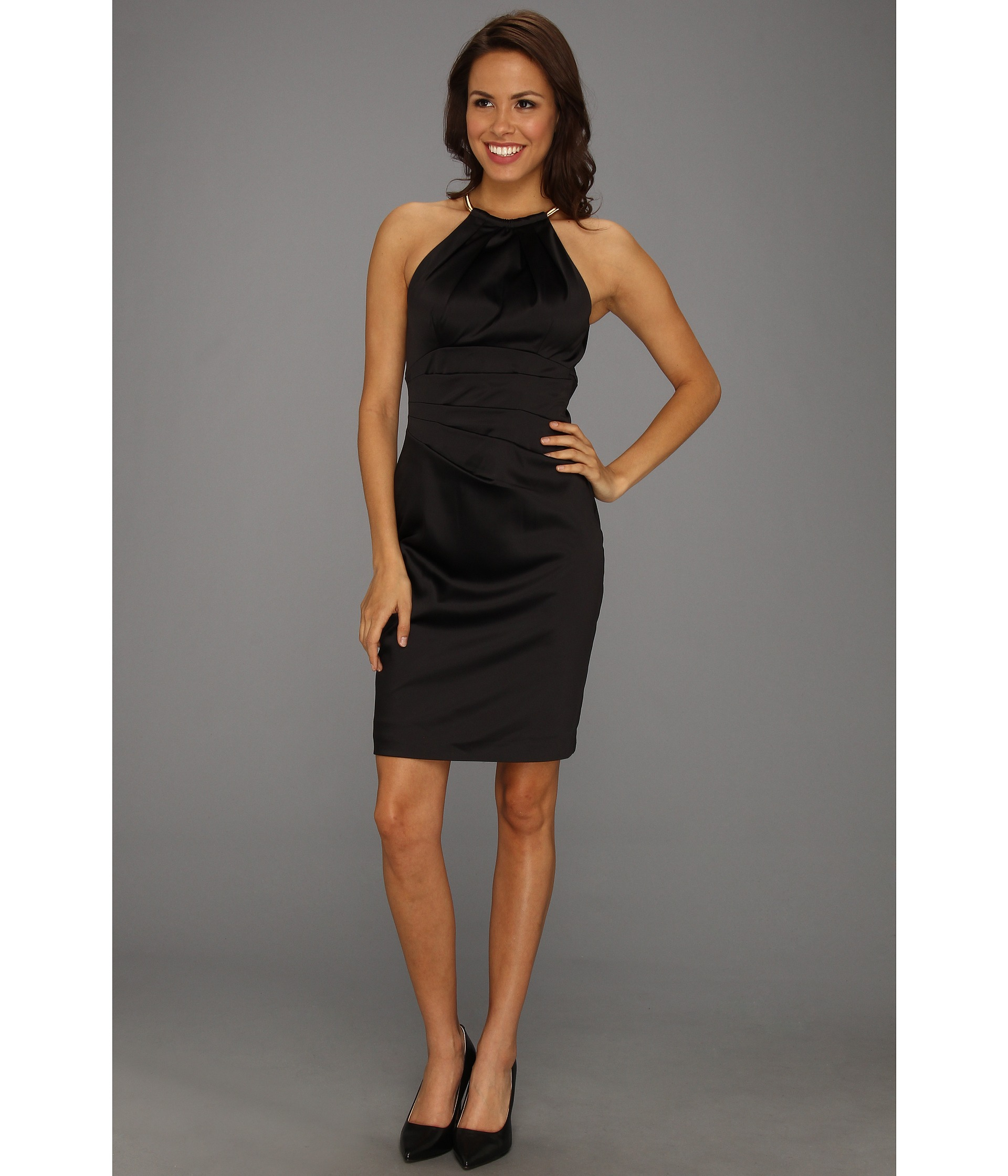 Halter Satin Dress with Necklace Detail