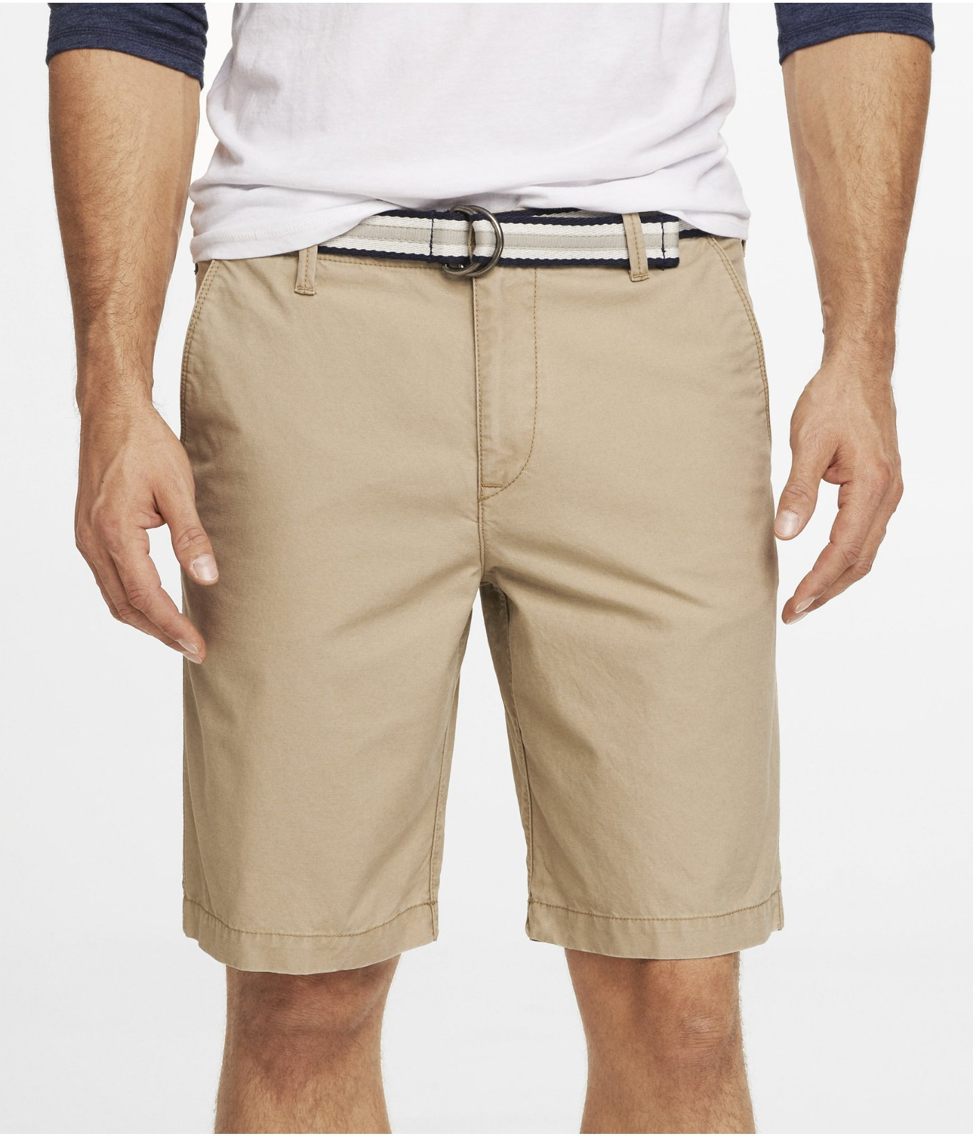 d1f9038f09 Express 10 Inch Belted Lennox Shorts in Natural for Men - Lyst