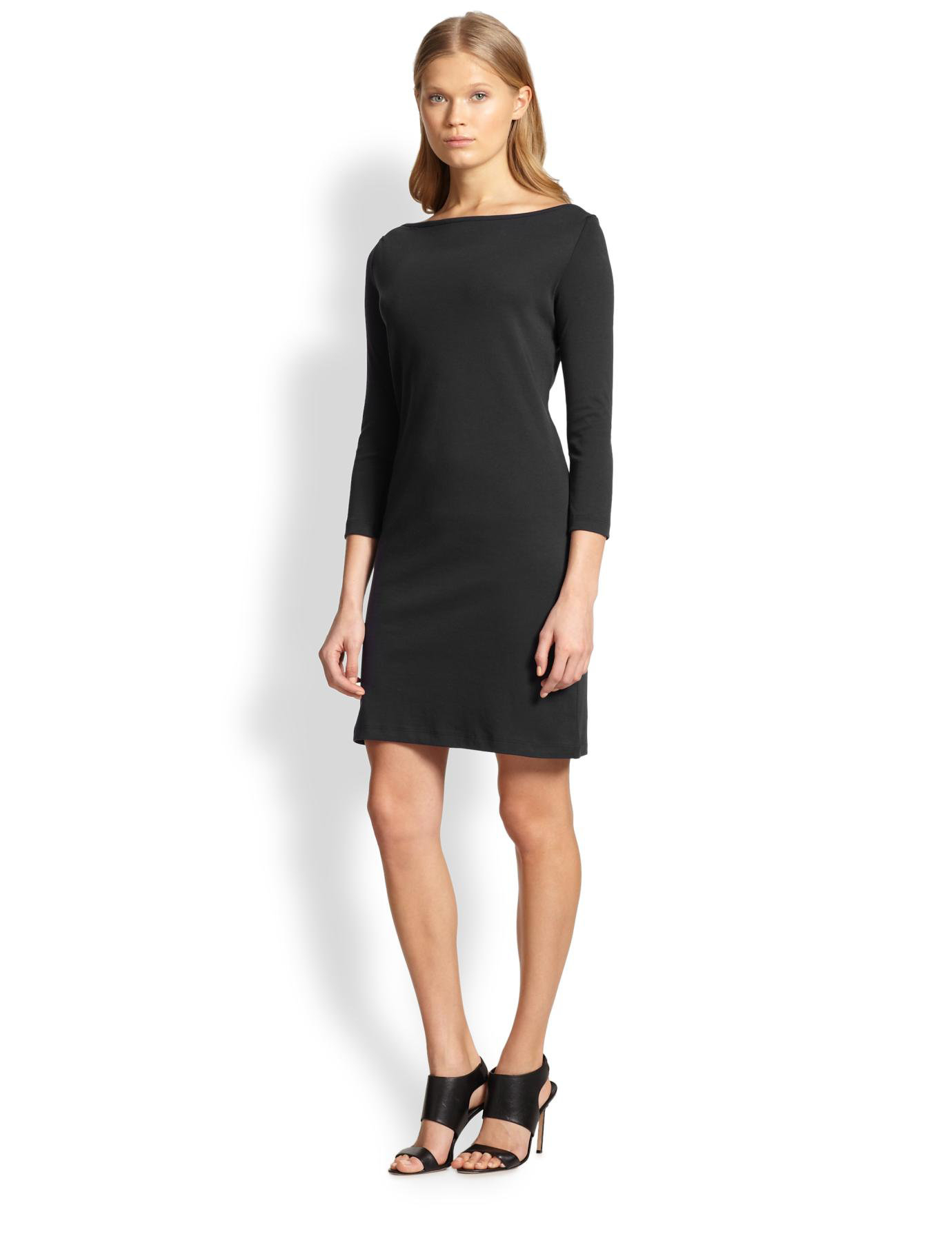 Theory Boatneck Jersey Dress In Black Lyst