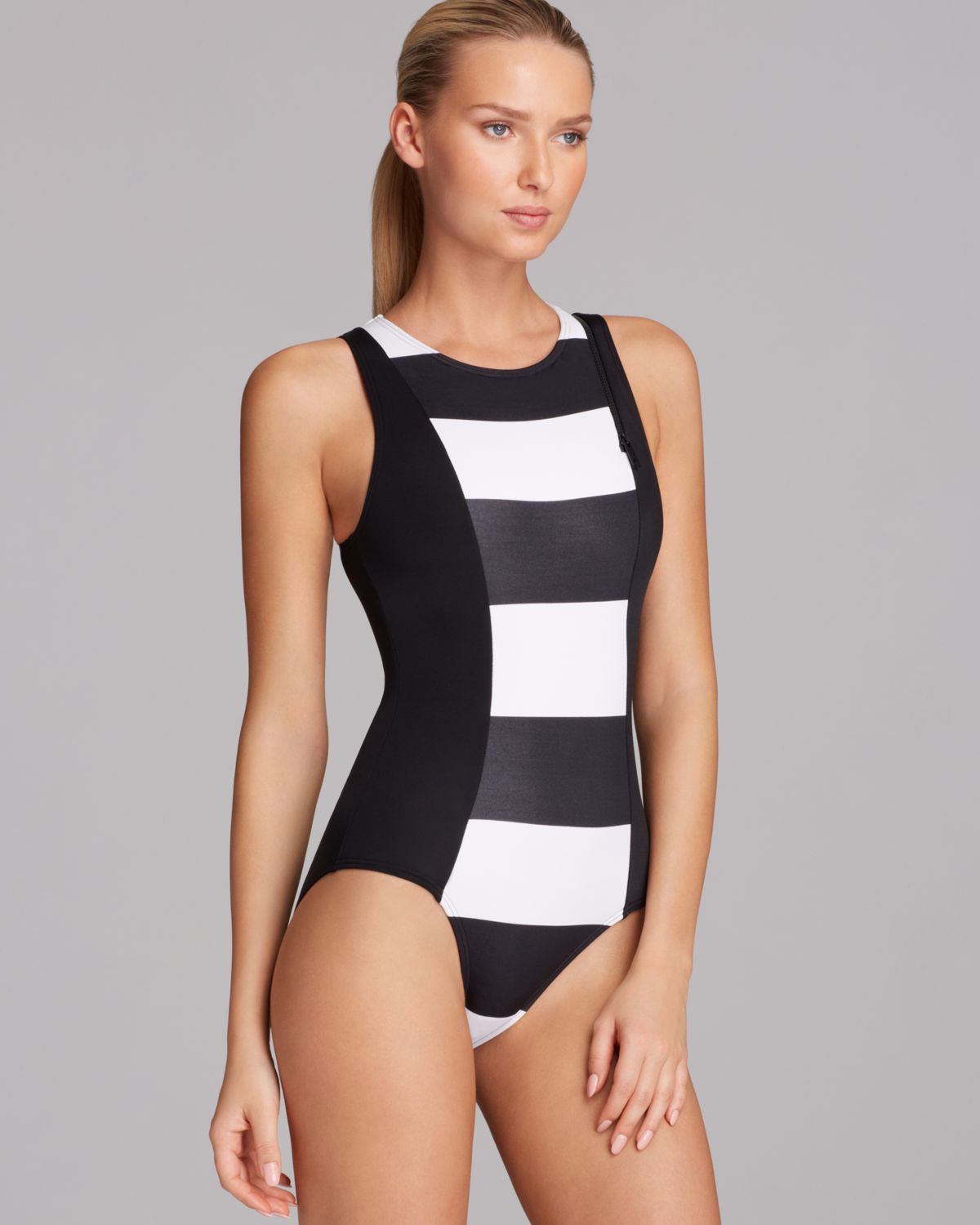 Lyst - DKNY Lorimer Stripe High Neck Maillot One Piece Swimsuit in White 53fde1e4b373