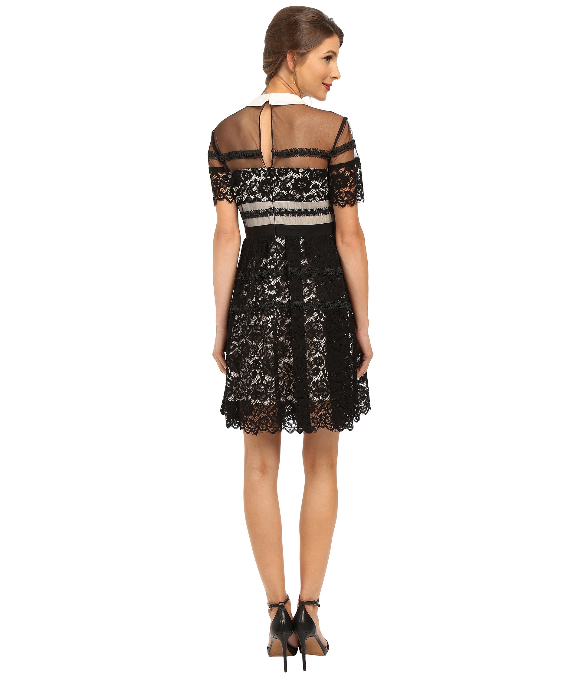 Donna morgan Short Sleeve Lace Shirt Dress With Collar in Black - Lyst