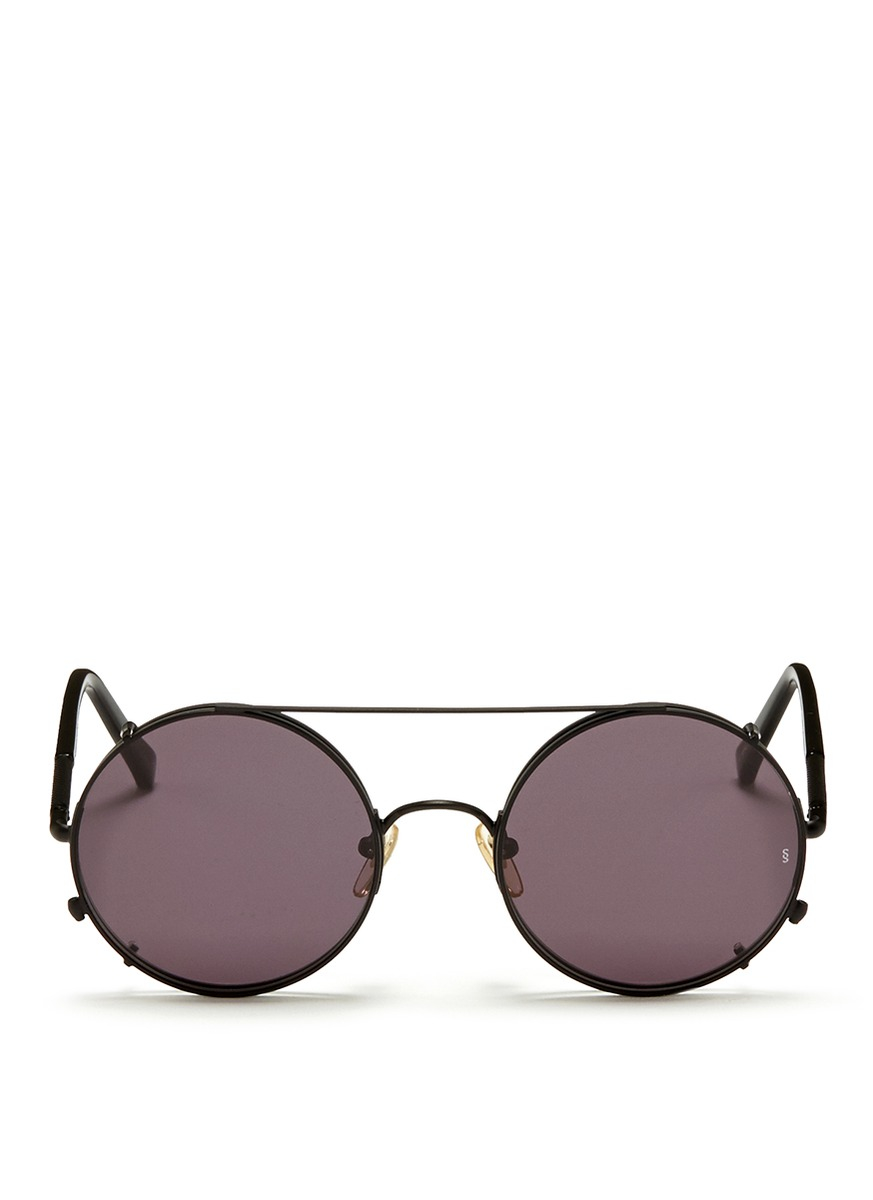 Sunday Somewhere 'valentine' Clip-on Wire Rim Round Sunglasses in Black for Men