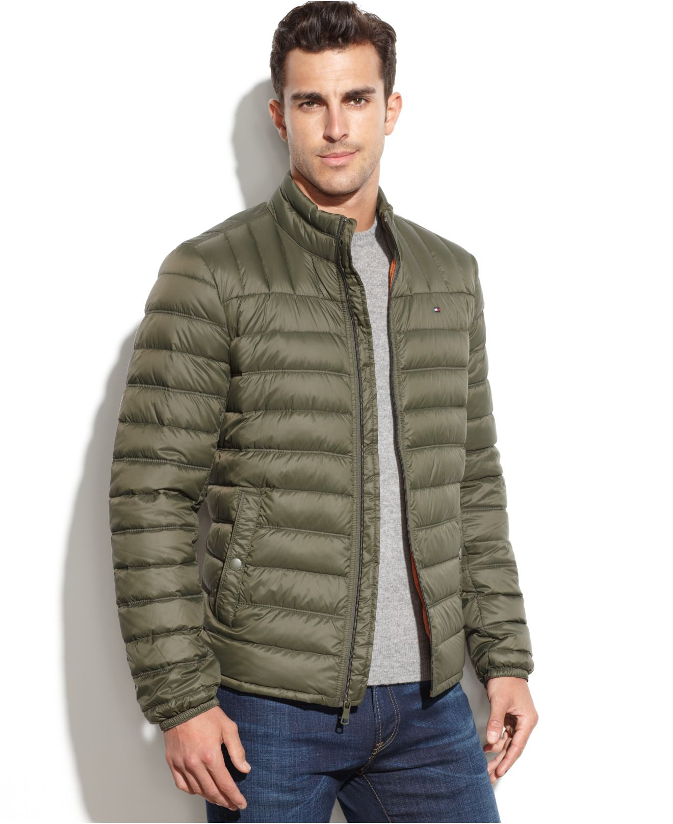 Tommy Hilfiger Quilted Packable Down Puffer in Olive ...