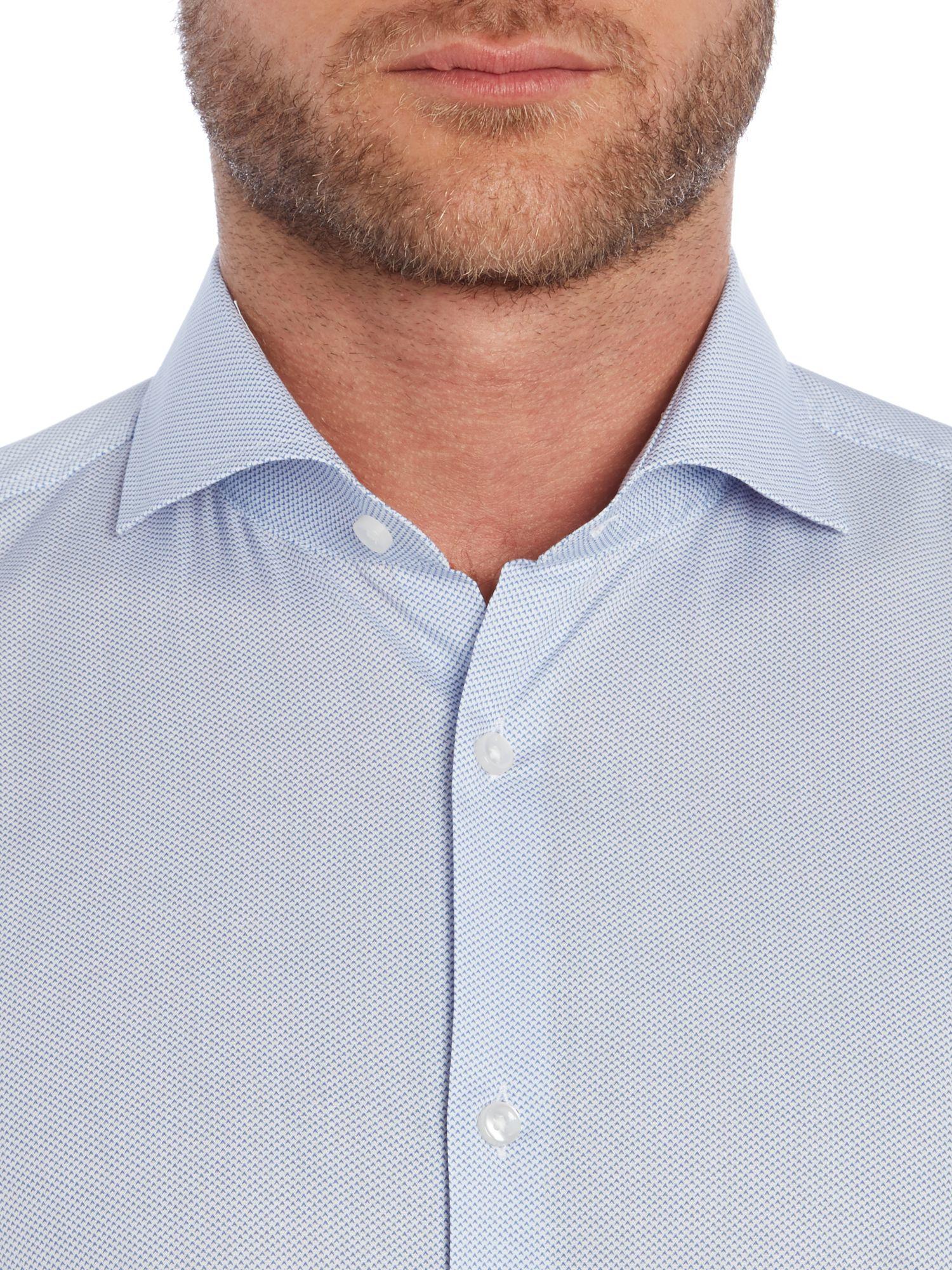 Boss jason pattern slim fit long sleeve shirt in blue for for Hugo boss jason shirt