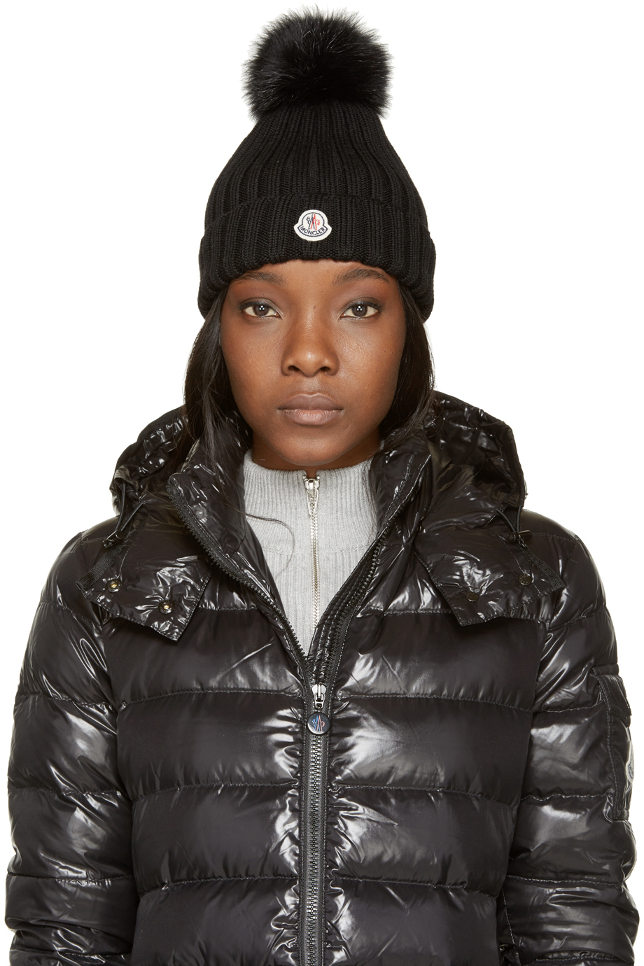 ... greece moncler black berretto hat in black lyst bce25 338c6 7ecd44d5ed