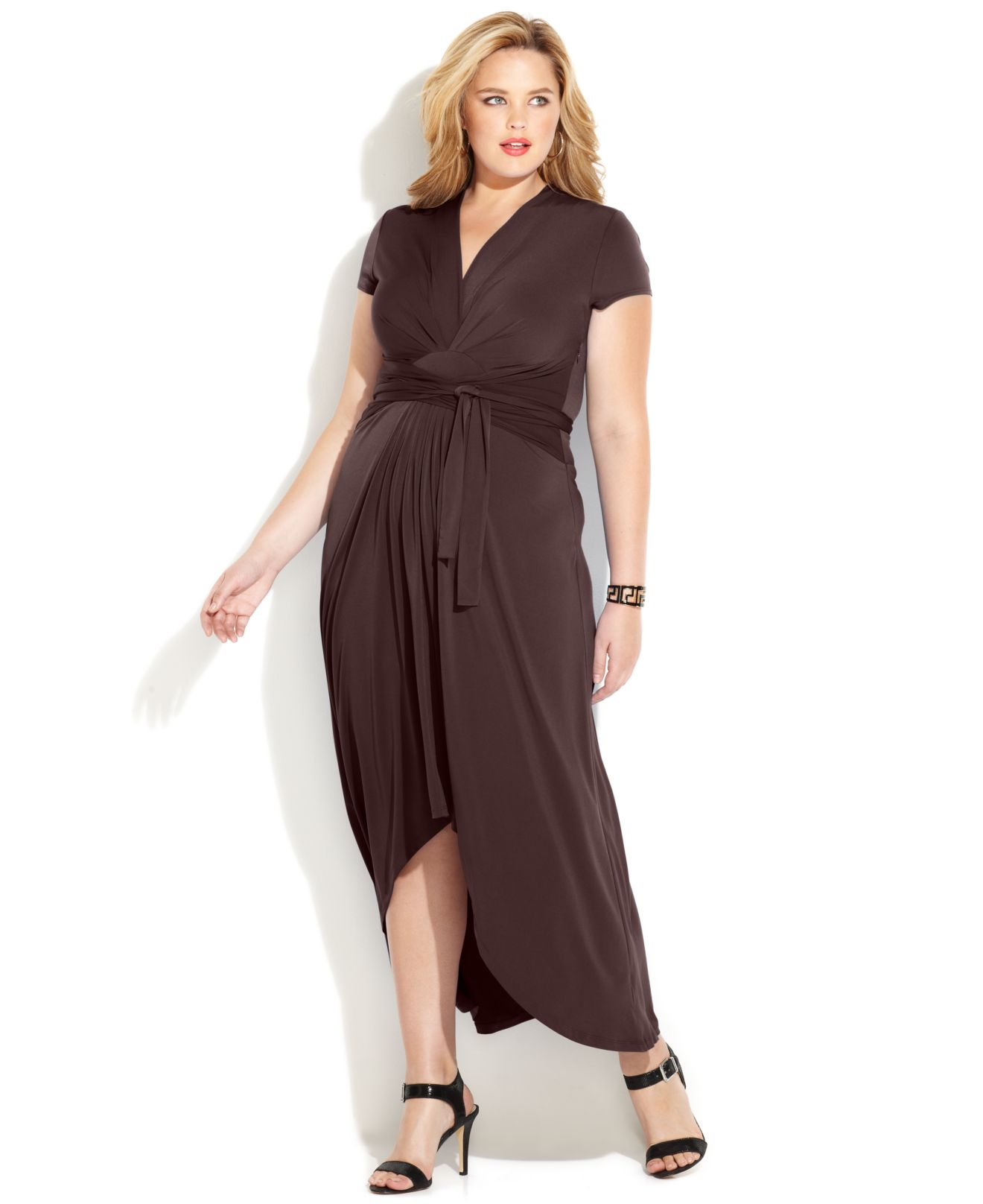 michael kors michael plus size fauxwrap maxi dress in brown | lyst