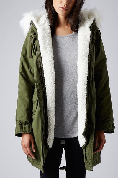 Topshop Borg Lined Parka Jacket In Green Khaki Lyst