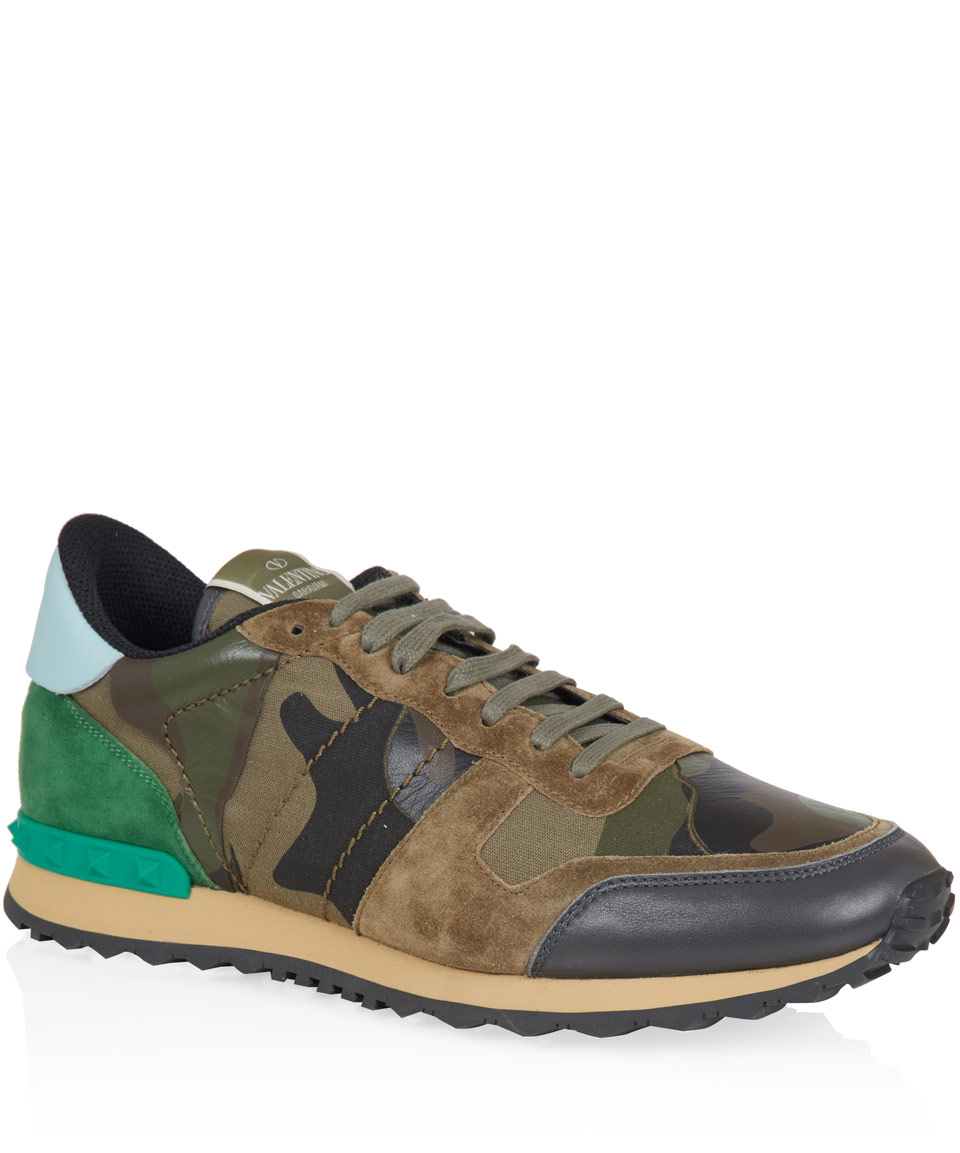 Valentino Khaki Full Camo Leather Trainers In Natural For