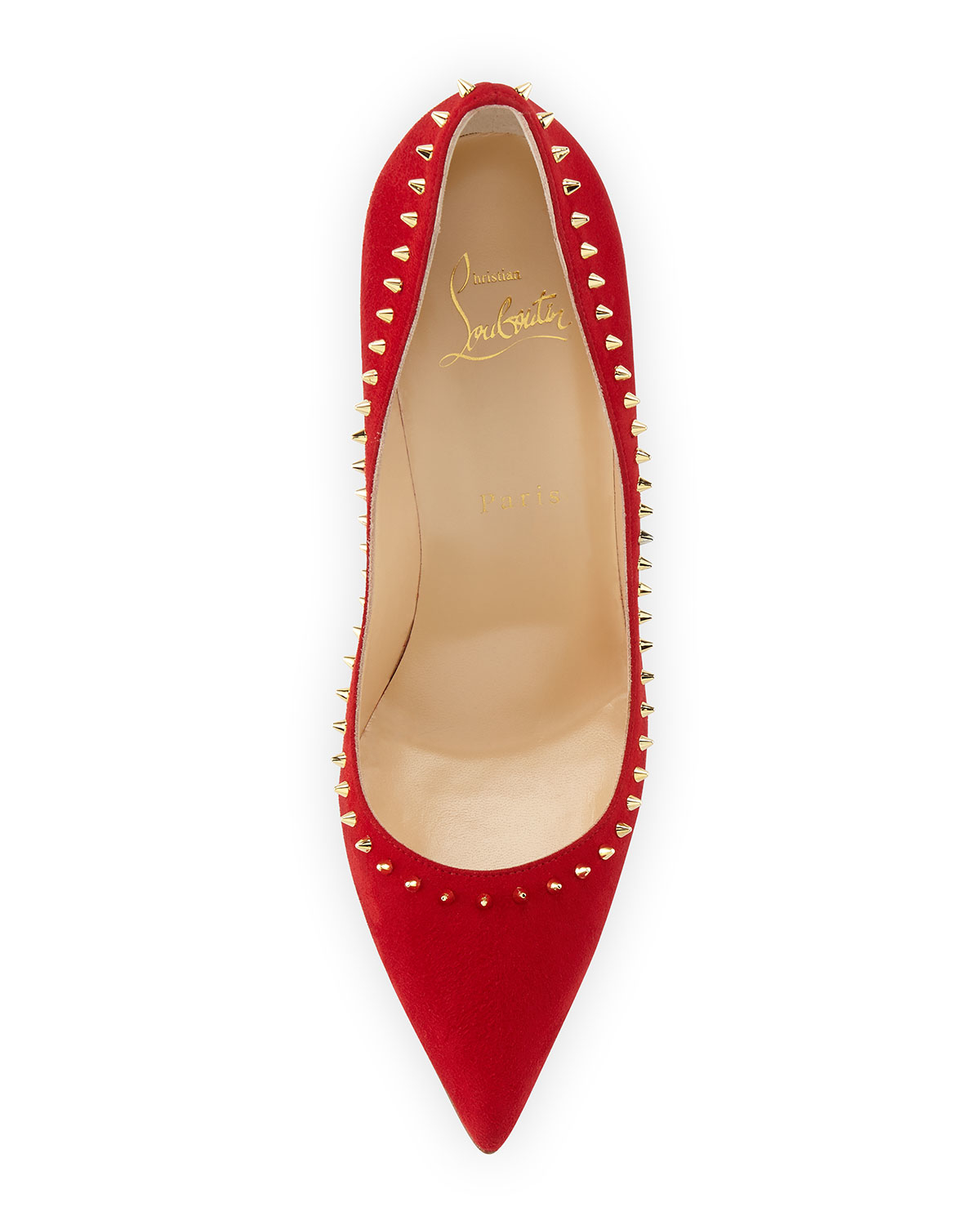 70269025b36 Christian Louboutin Metallic Anjalina Spiked Suede Red-Sole Pumps