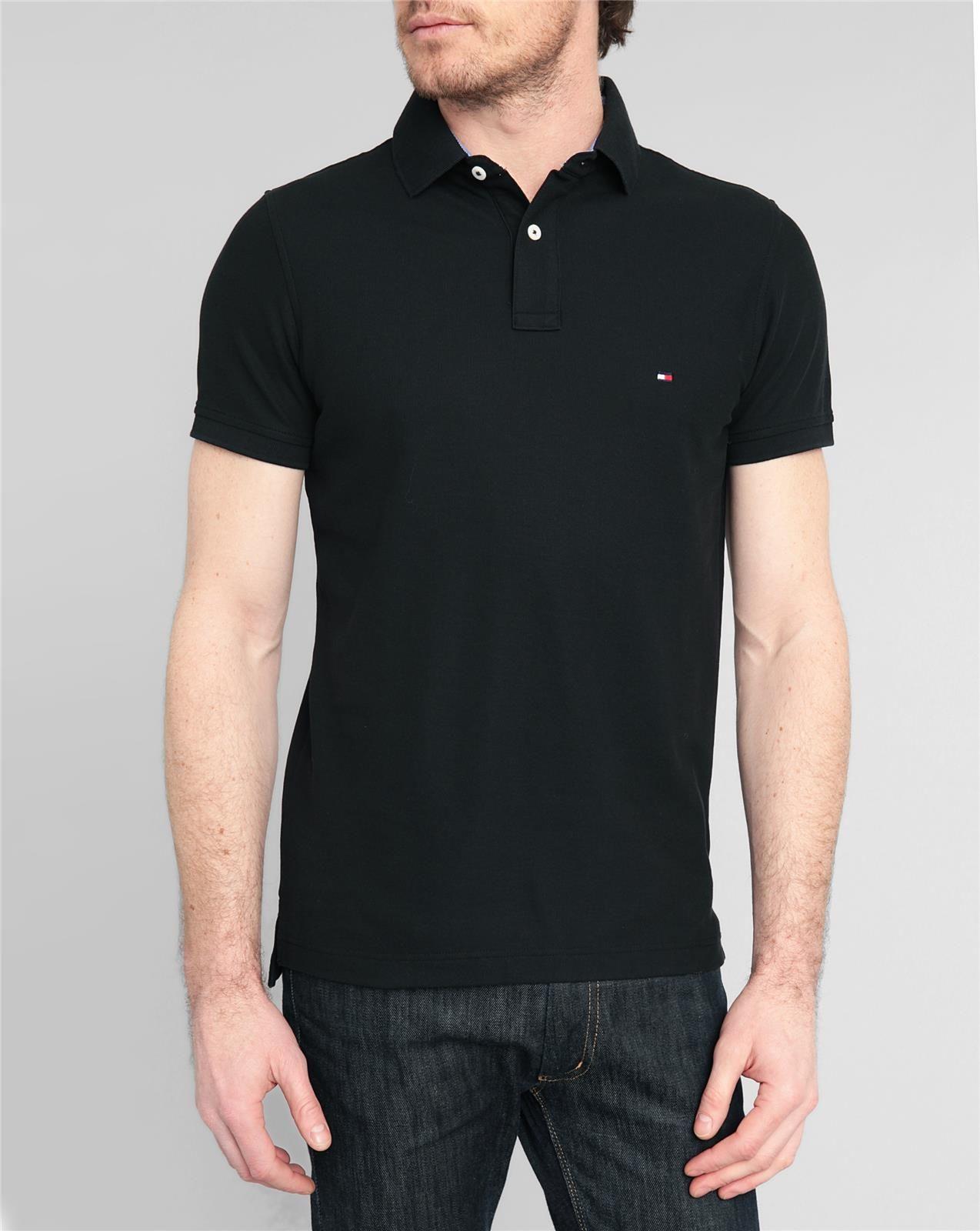 tommy hilfiger black slim fit stretch piqu polo shirt in black for men lyst. Black Bedroom Furniture Sets. Home Design Ideas