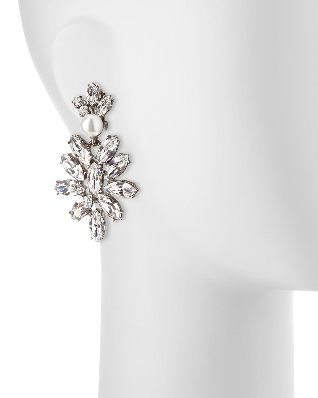 Oscar De La Renta Navette Crystal Drop Clip Earrings srLh7n