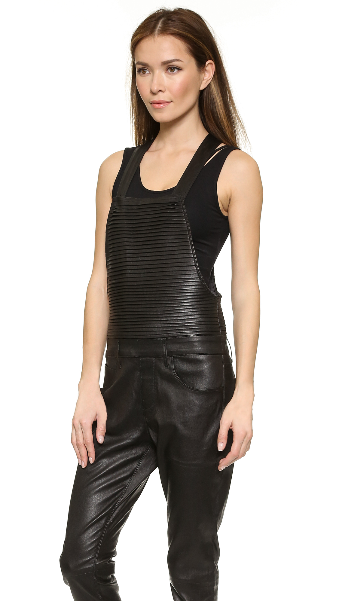 Rta Pleated Leather Overalls Black In Black Lyst
