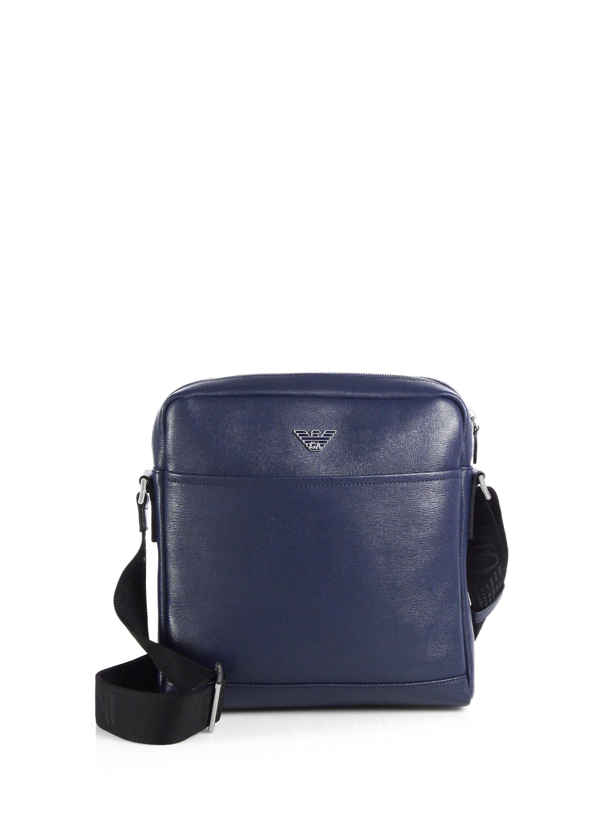 4554dbbcd6 Emporio Armani Leather Crossbody Bag in Blue for Men - Lyst