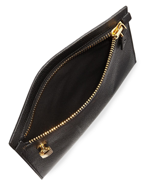 yves saint laurent wallet pink - monogram calfskin clutch bag, black
