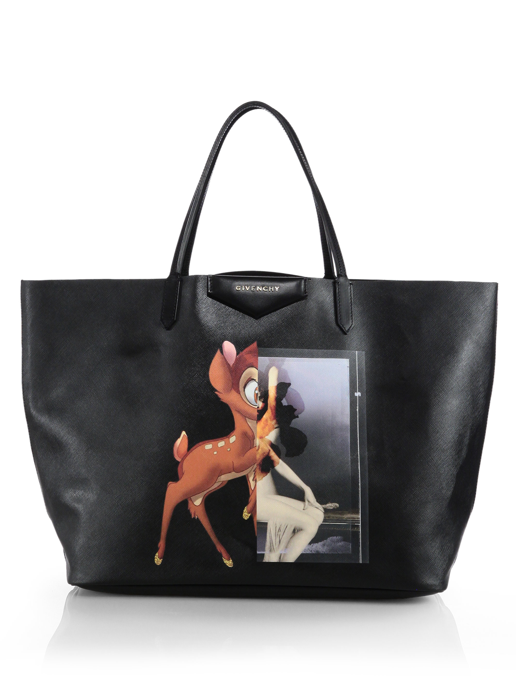 5a67fd4563 Lyst - Givenchy Bambi Medium Leather Shopper Tote in Black