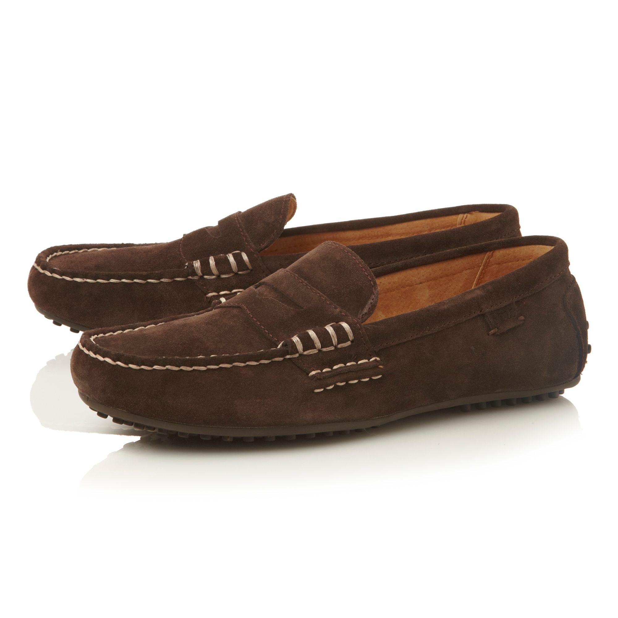 Lauren Men Suede Loafer Polo Penny Brown Stitch For Wes Ralph Detail uTKJ13lFc