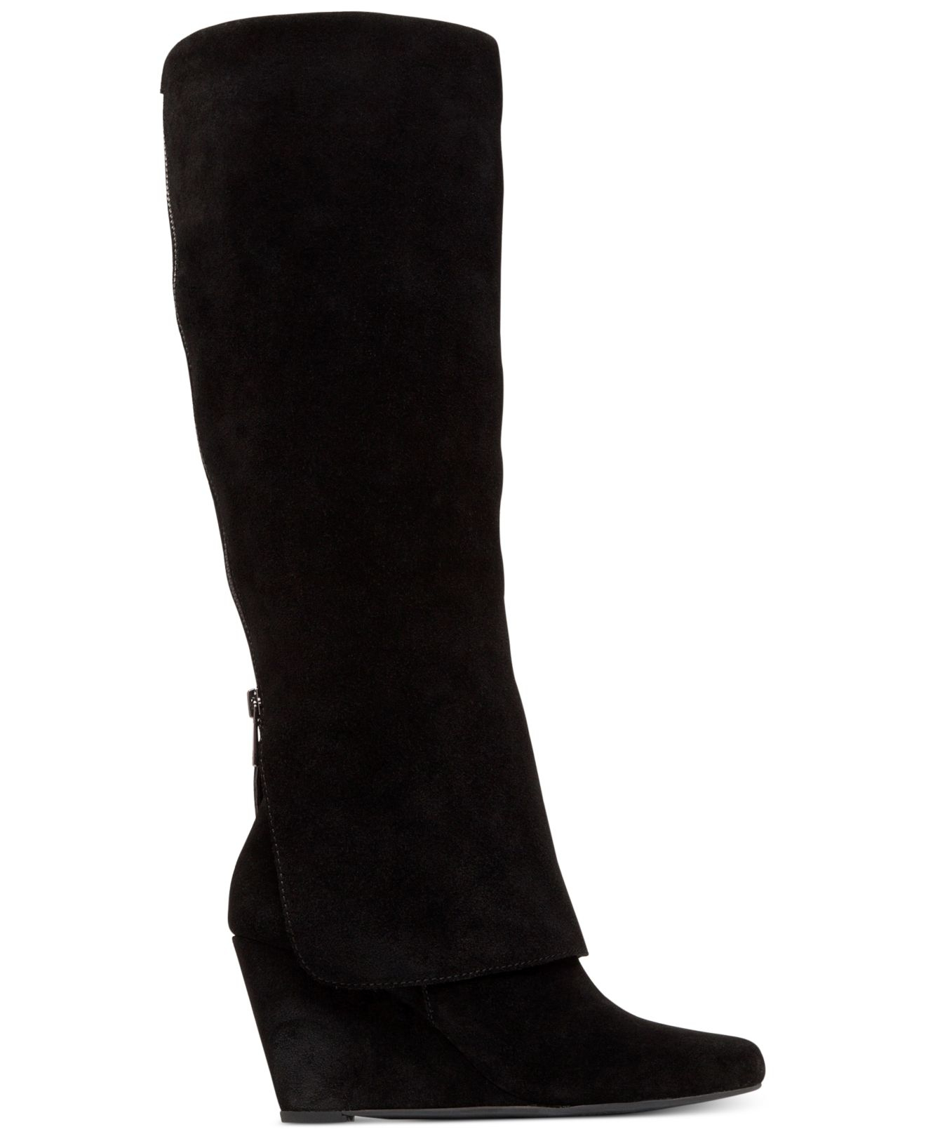 rallie cuffed wedge boots in black black