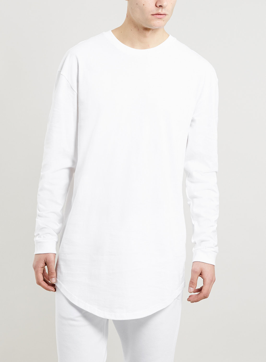 Topman white longer length long sleeve t shirt in white for Long length long sleeve t shirts