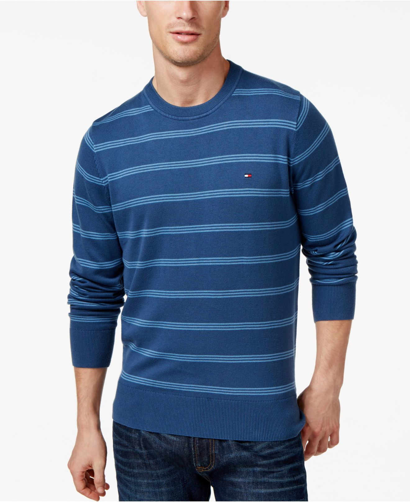 4d995fa994 Lyst - Tommy Hilfiger Signature Crew-neck Striped Sweater in Blue ...