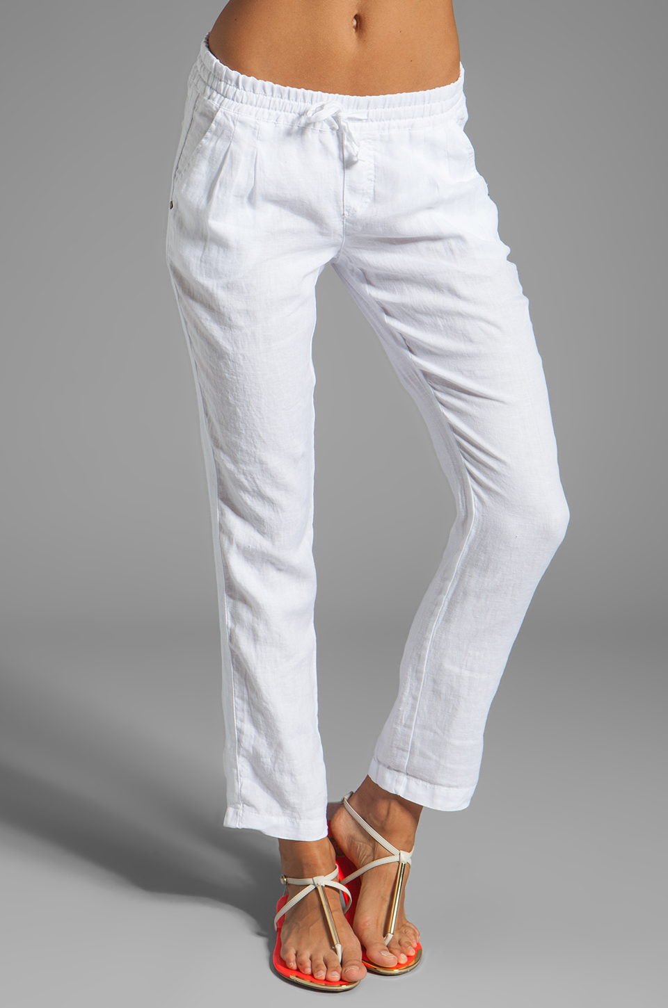 9b866bac466e60 Michael Stars Linen Cuffed Pant With Tuxedo Stripe in White - Lyst