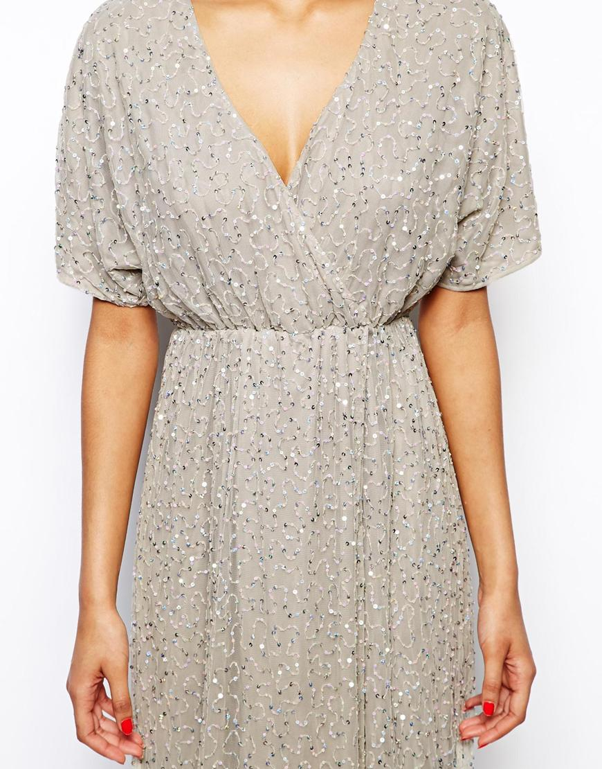 Asos Sequin Kimono Maxi Dress in Gray | Lyst