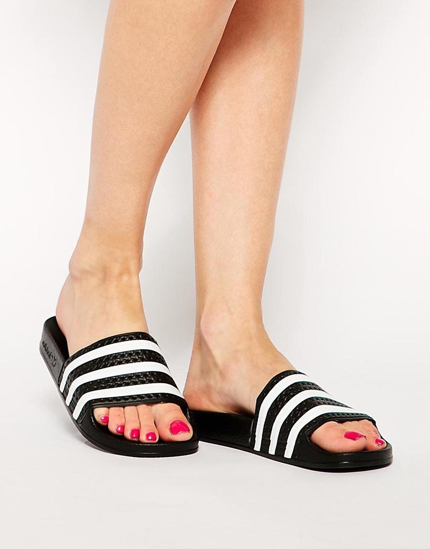 0398202eb Lyst - adidas Originals Originals Adilette Black   White Stripe ...