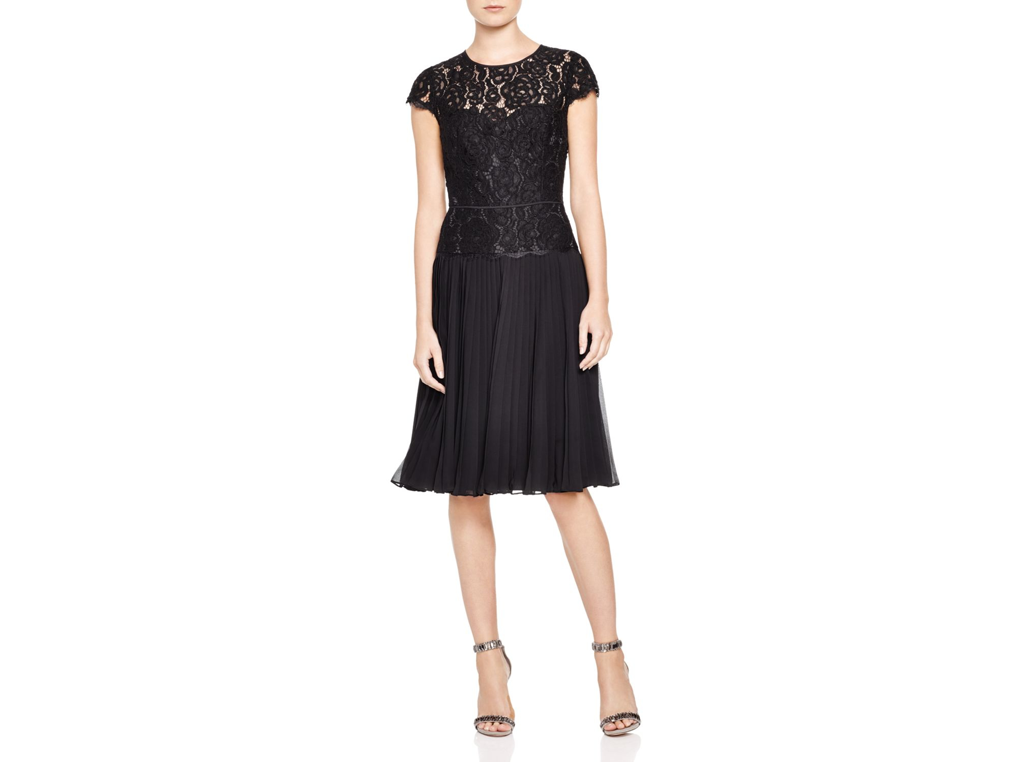 papell lace bodice pleated skirt dress in black