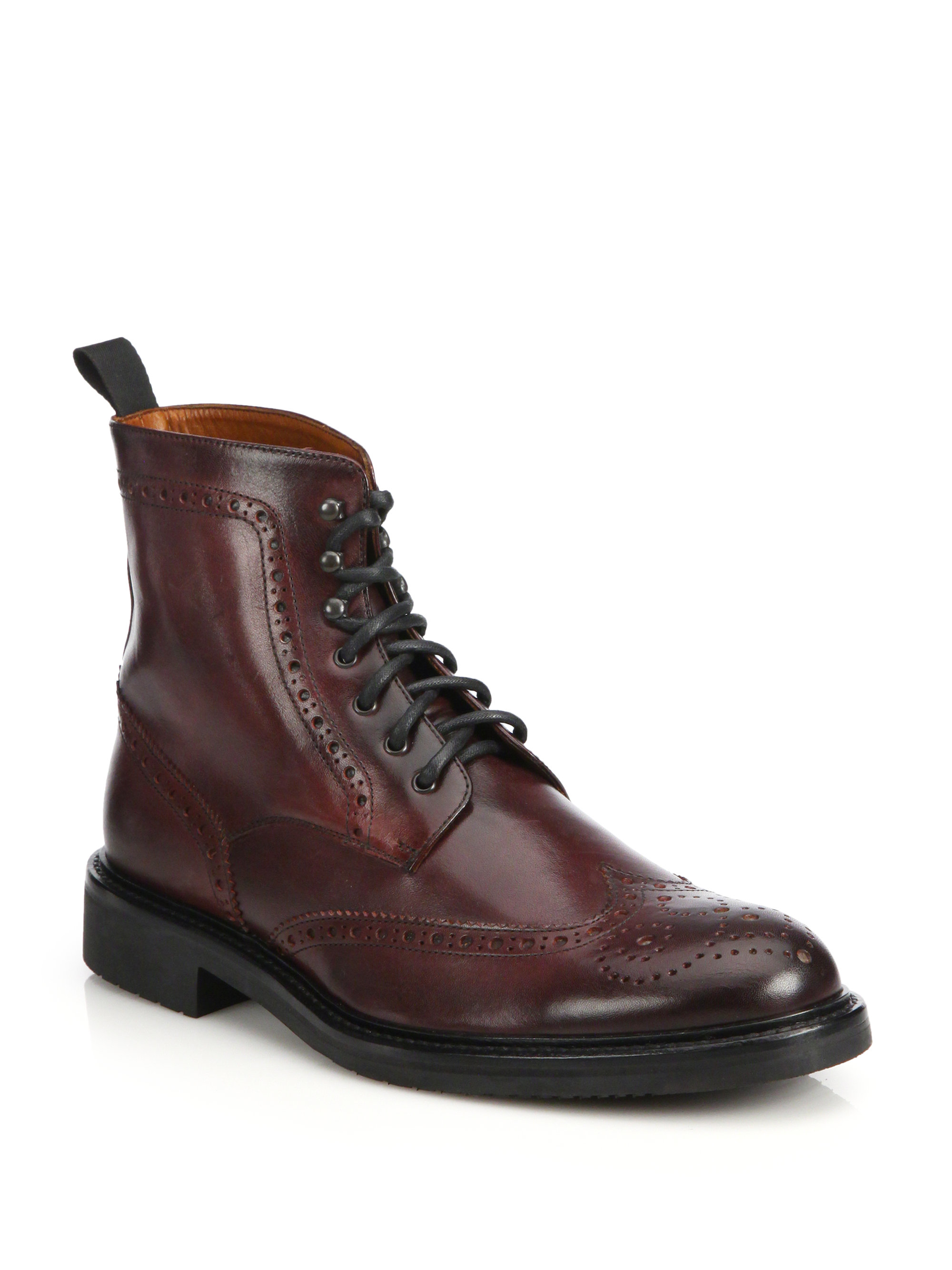 saks fifth avenue wingtip leather ankle boots in brown for