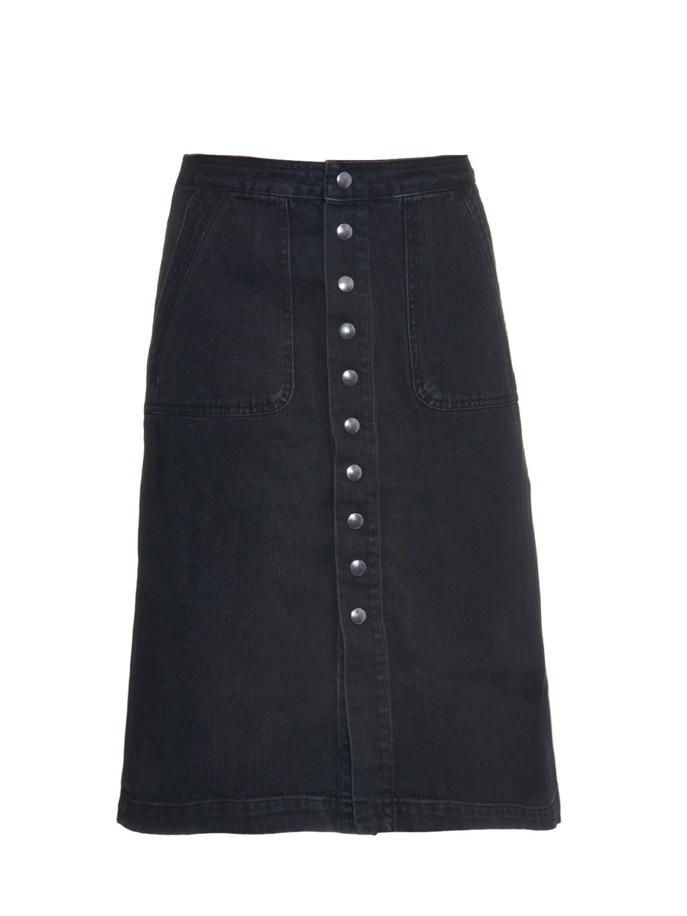 m i h sonning button through denim skirt in black lyst