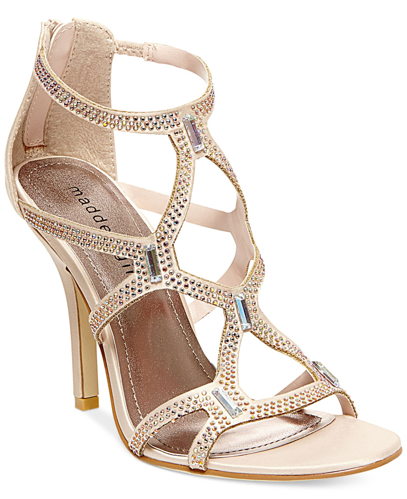 2960a8cd4d0f Lyst - Madden Girl Digitize Caged Rhinestone Dress Sandals in Pink