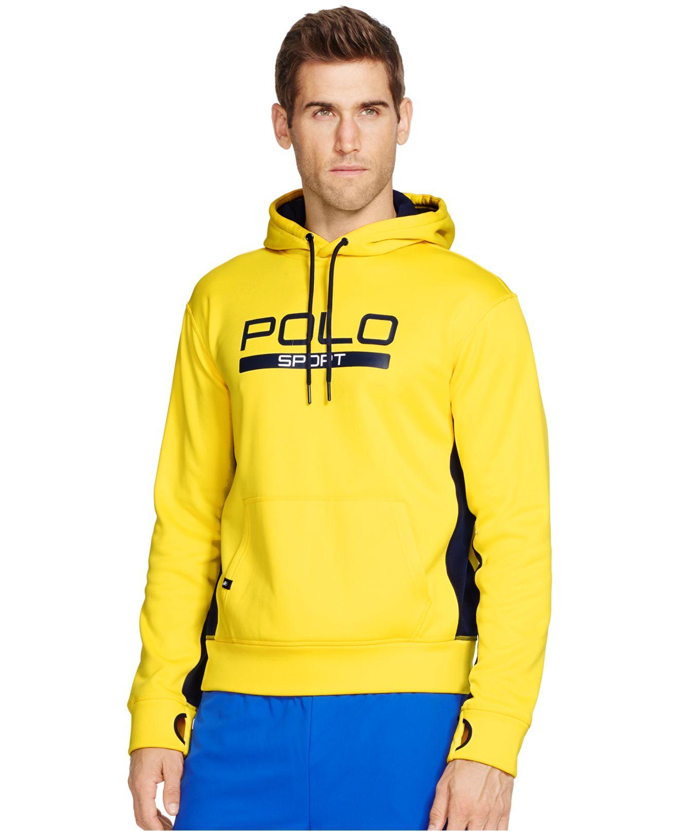 polo ralph lauren tech fleece hoodie in yellow for men lyst. Black Bedroom Furniture Sets. Home Design Ideas