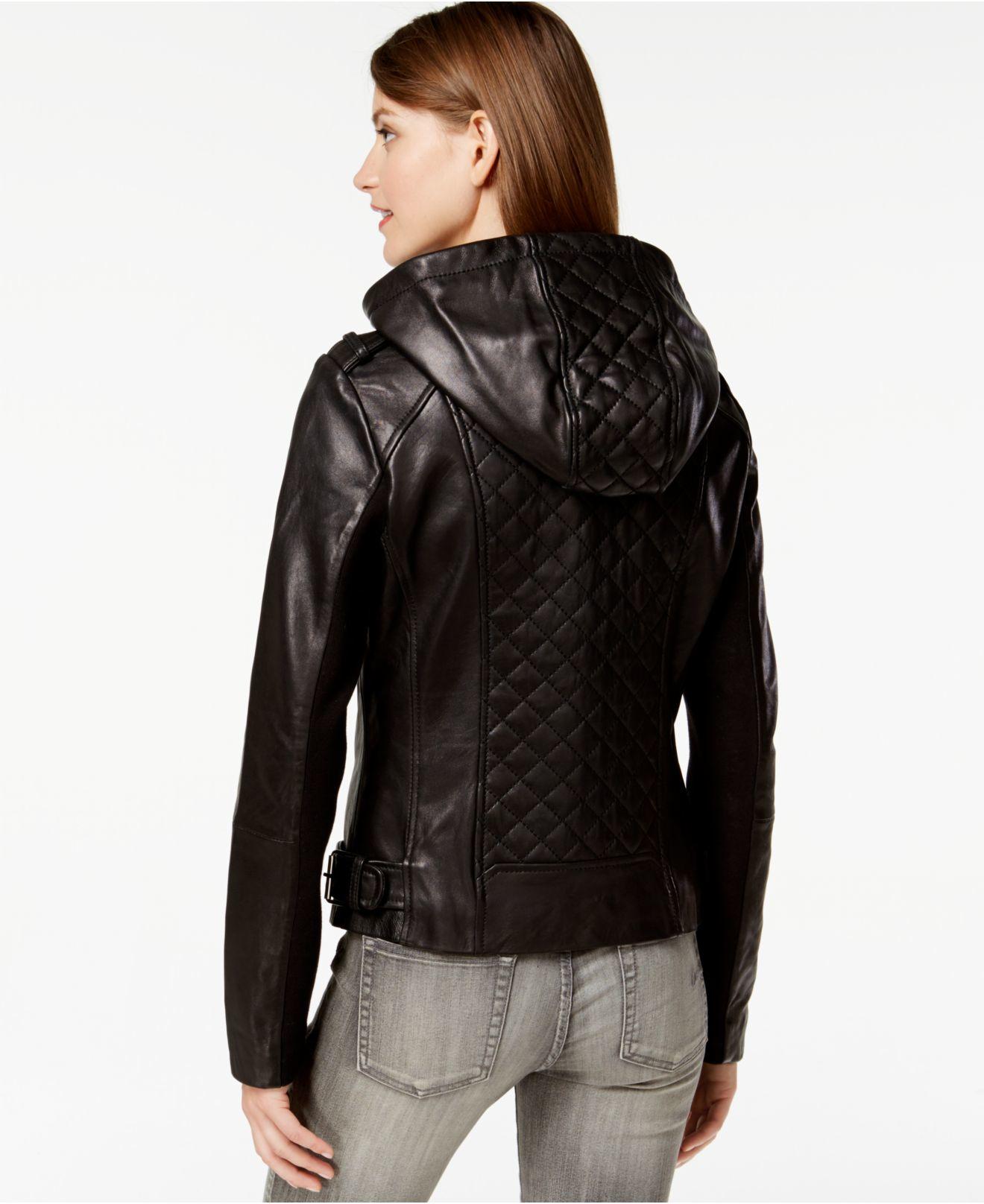 e0bc0781085 Michael Kors Hooded Leather Moto Jacket - Cairoamani.com